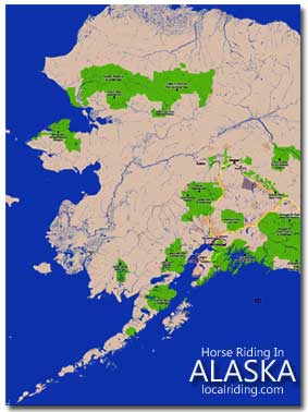 Alaska Map - Horse Riding in Alaska