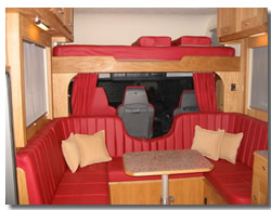 The horsebox interior.
