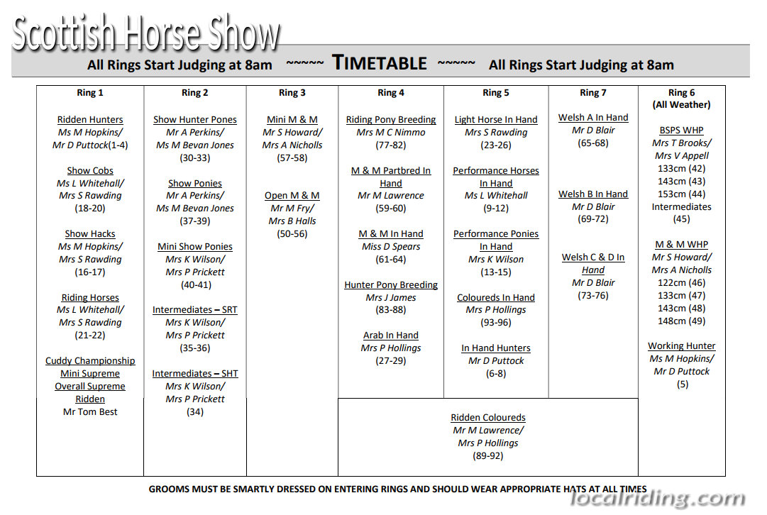 Scottish Horse Show - timetable